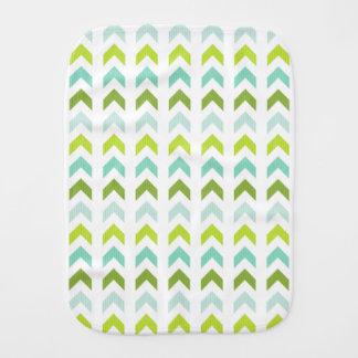 Modern Green, Mint, Aqua, White Geometric Pattern Baby Burp Cloths