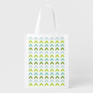 Modern Green, Mint, Aqua, White Geometric Pattern Grocery Bag