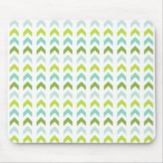 Modern Green, Mint, Aqua, White Geometric Pattern Mouse Pad