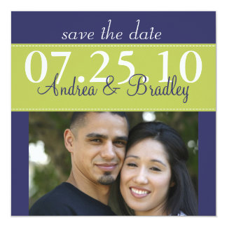 "Modern Green Navy Blue Wedding Photo Save the Date 5.25"" Square Invitation Card"