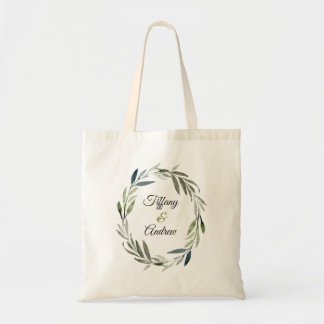 Modern Green Olive Leaf Wreath Wedding Gift Favor Tote Bag
