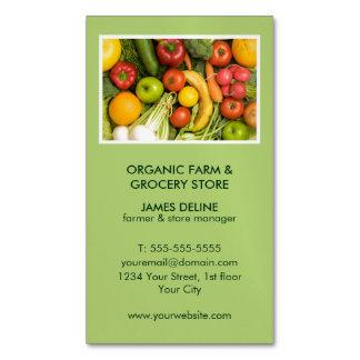 Modern Green Organic Farm Grocery Store Business Card Magnet