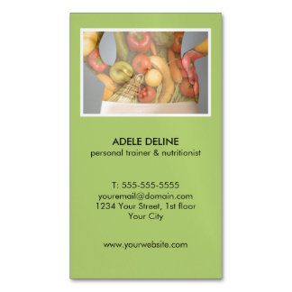 Modern Green Personal Trainer and Nutritionist Business Card Magnet