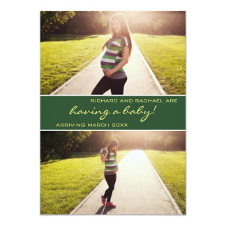 Modern Green Photo Collage Pregnancy Announcement