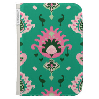 Modern green pink girly ikat tribal pattern case for kindle