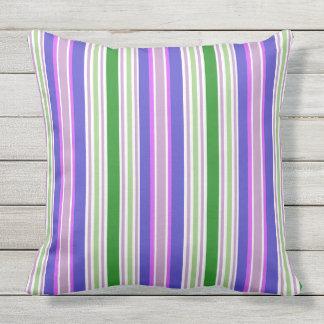 Modern Green Purple Striped Outdoor Pillow