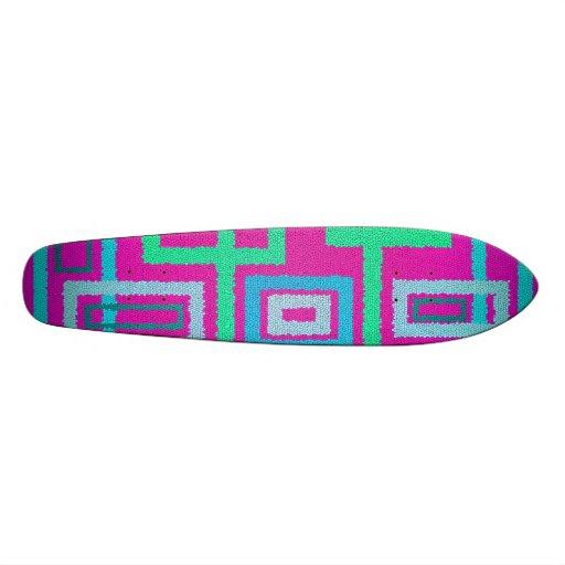 Modern green squares on pink background skateboards