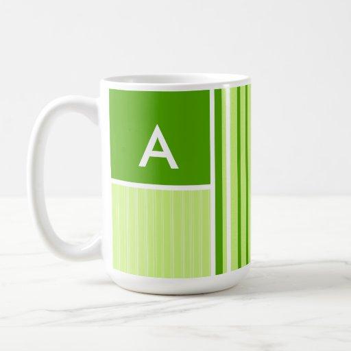 Modern Green Stripes; Striped Coffee Mug
