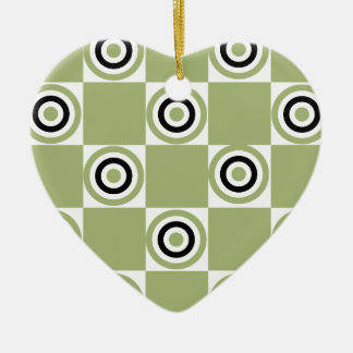 Modern Green Targets Ceramic Heart Ornament