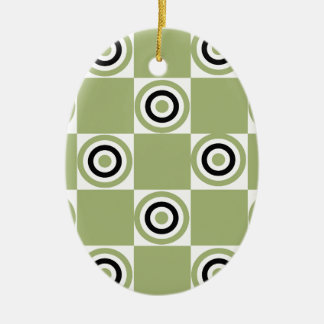 Modern Green Targets Ceramic Oval Ornament