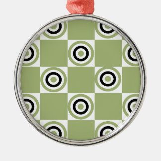 Modern Green Targets Silver-Colored Round Ornament