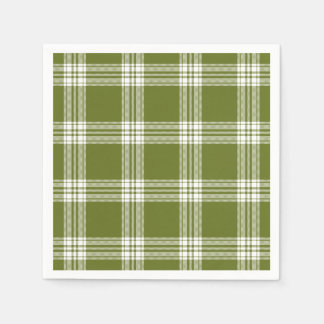 Modern Green Tartan Plaid Paper Napkins