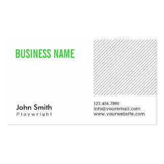 Modern Green Title Playwright Business Card