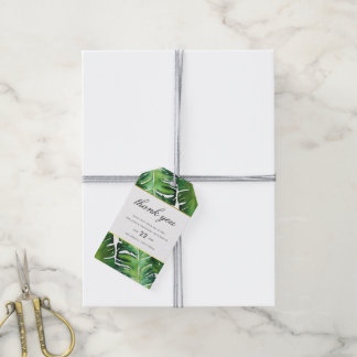 Modern Green Tropical Leaves Wedding Thank You Gift Tags