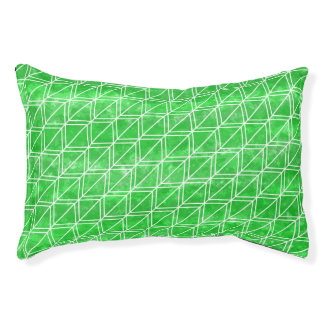 Modern Green Watercolor Geometric Pattern Small Dog Bed