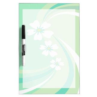 Modern Green Waves with Sakura Flowers Dry-Erase Whiteboards