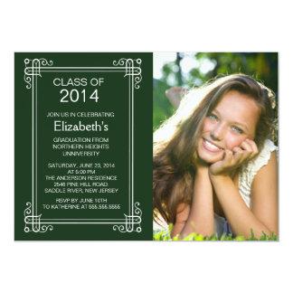 Modern Green White Photo Graduation Party Invite