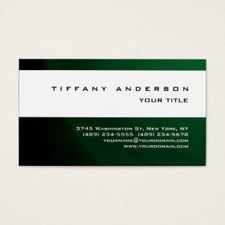Modern Green White Stripe Trendy Professional Business Card