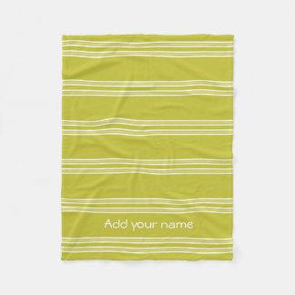 Modern Green White Stripes Personalized Fleece Blanket
