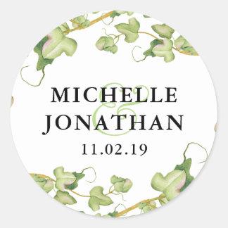 Modern Greenery Botanical Ivy Wedding Favor Classic Round Sticker