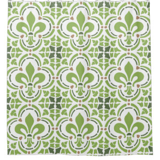 Modern Greenery Green Fleur de Lis Quatrefoil