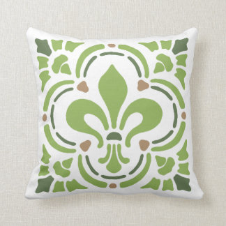 Modern Greenery Green Fleur de Lis Quatrefoil Throw Pillow