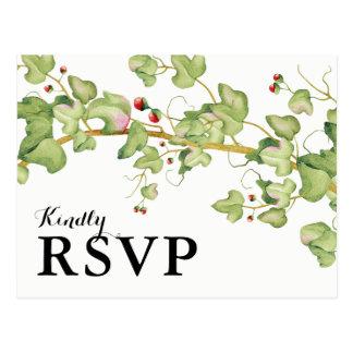 Modern Greenery Wedding Response | Botanical RSVP Postcard