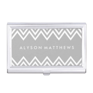Modern Grey and White Chevron Business Card Holder