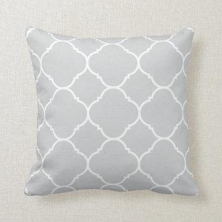 Modern Grey and White Quatrefoil Lattice Pattern Throw Pillow