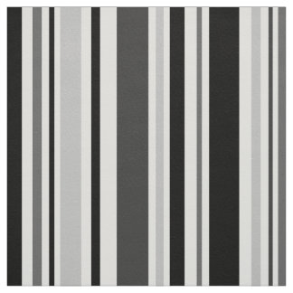 Modern Grey, Black, White Stripes Geometric Fabric