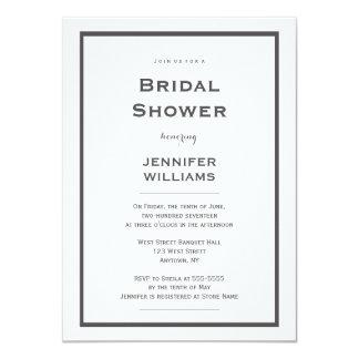 Modern grey border bridal shower invitations