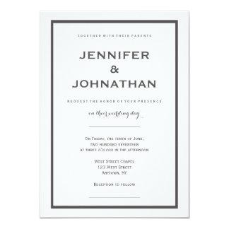 Modern grey border wedding invitations
