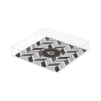 Modern grey chevron geometric pattern monogram acrylic tray