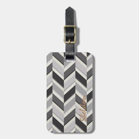 Modern grey chevron geometric pattern monogram luggage tag