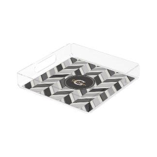 Modern grey chevron geometric pattern monogram perfume tray