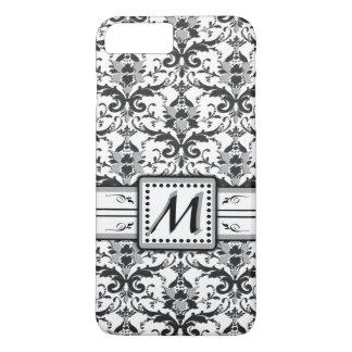 Modern Grey Damask Monogram iPhone 7 Plus Case