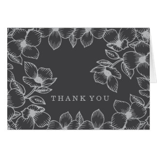 Modern Grey Floral Thank You Cards