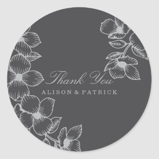 Modern Grey Floral Thank You Stickers