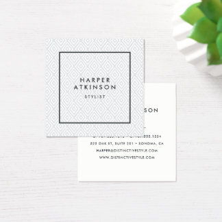 Modern Grey Ikat Patterned Square Business Card