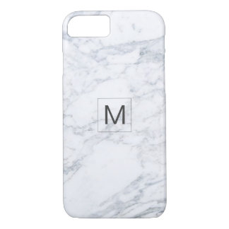 Modern Grey Marble Texture Monogram Barely There iPhone 8/7 Case