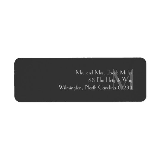 Modern Grey Monogram Return Address Labels