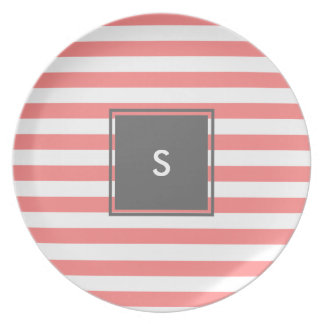 modern grey monogram with coral stripes party plate