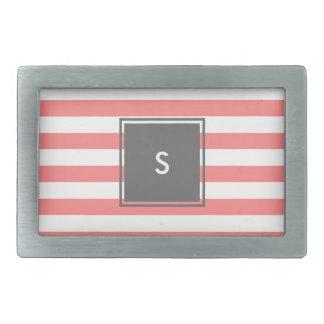 modern grey monogram with coral stripes rectangular belt buckles