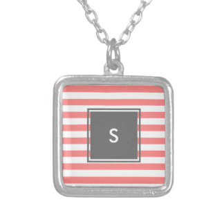modern grey monogram with coral stripes silver plated necklace