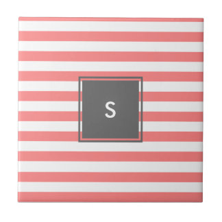 modern grey monogram with coral stripes tile