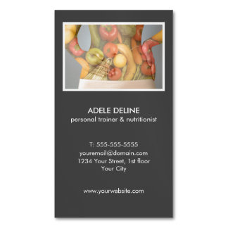 Modern Grey Personal Trainer and Nutritionist Magnetic Business Card