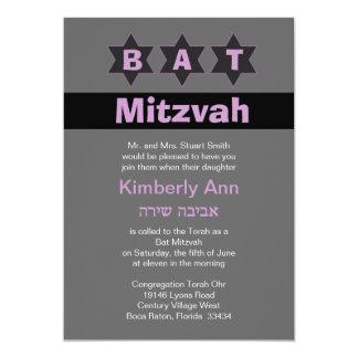 Modern Grey & Pink Bat Mitzvah Stars Hebrew Name Card