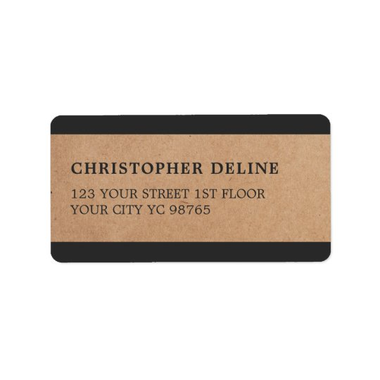 Modern Grey Stripes Kraft Paper Label