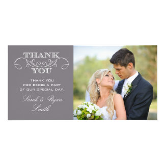 Modern Grey Wedding Photo Thank You Cards Photo Greeting Card
