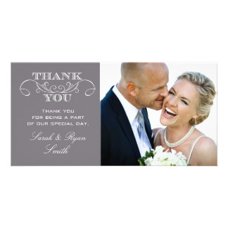 Modern Grey Wedding Photo Thank You Cards Custom Photo Card